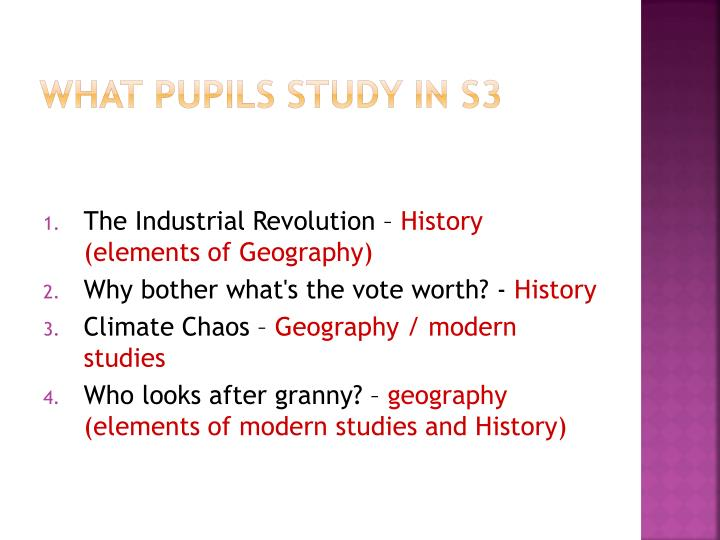 What pupils study in S3