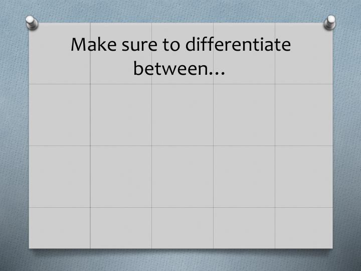 Make sure to differentiate between…