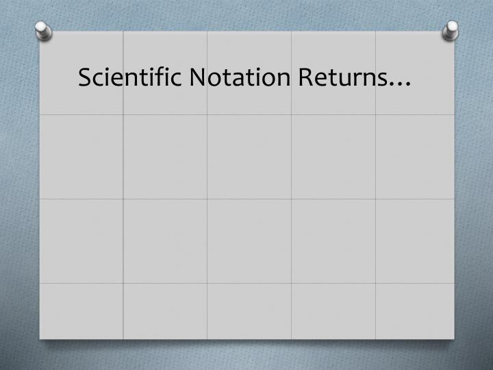 Scientific Notation Returns…