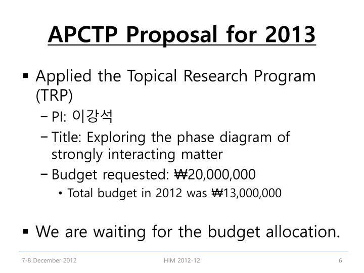 APCTP Proposal