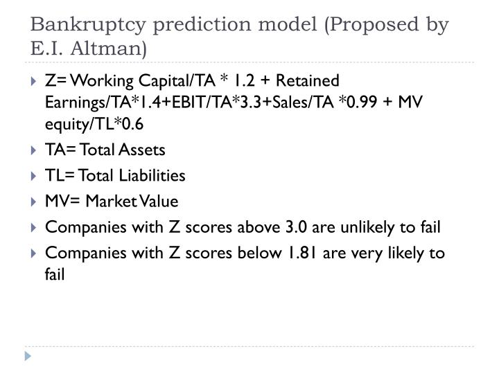 Bankruptcy prediction model (Proposed by E.I. Altman)