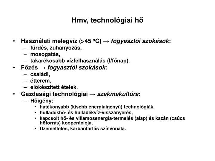 Hmv, technológiai hő