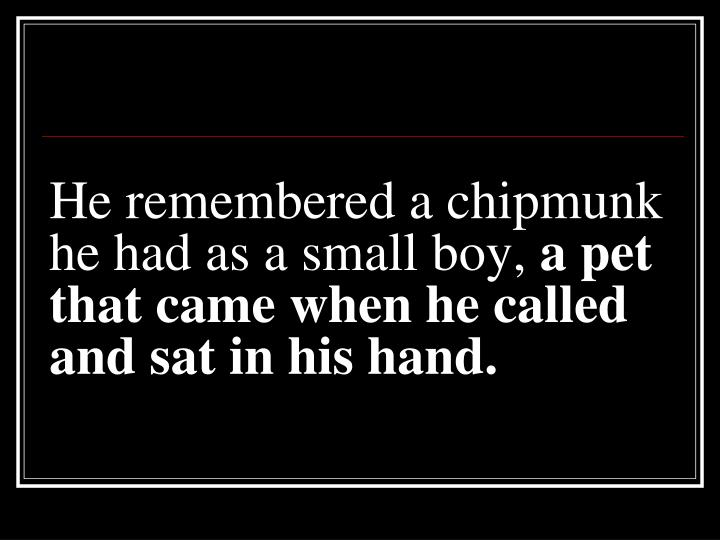 He remembered a chipmunk he had as a small boy,
