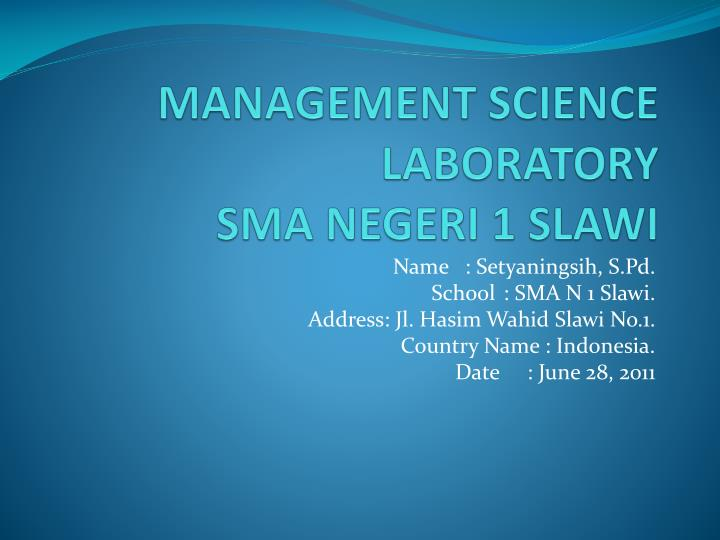 Management science laboratory sma negeri 1 slawi