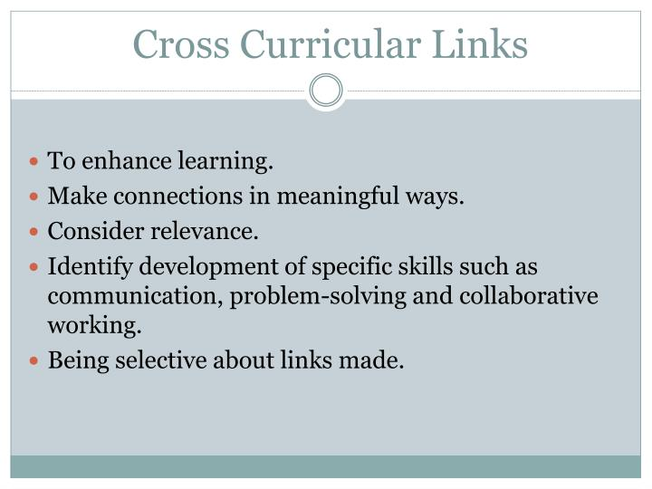 Cross curricular links