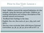 prior to zoo visit lesson 1
