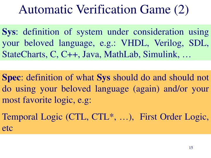 Automatic Verification Game (2)