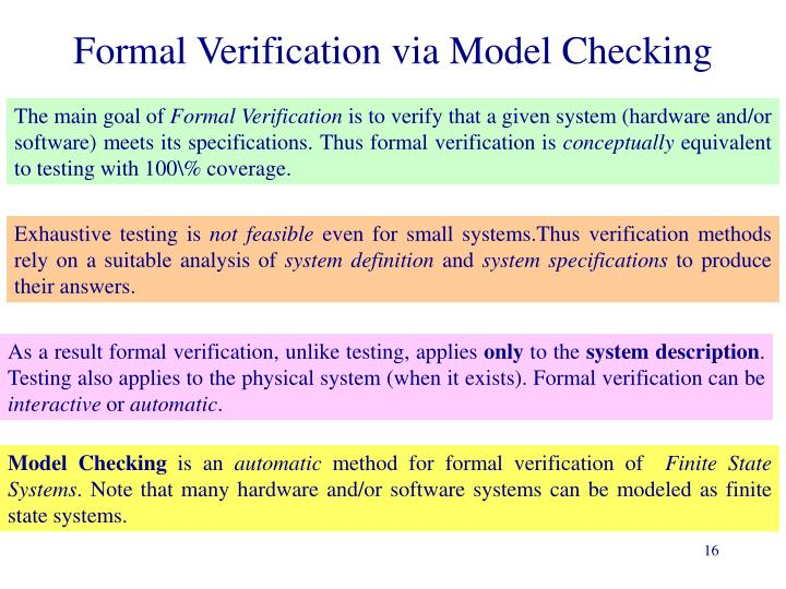 Formal Verification via Model Checking