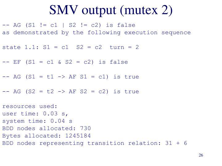 SMV output (mutex 2)