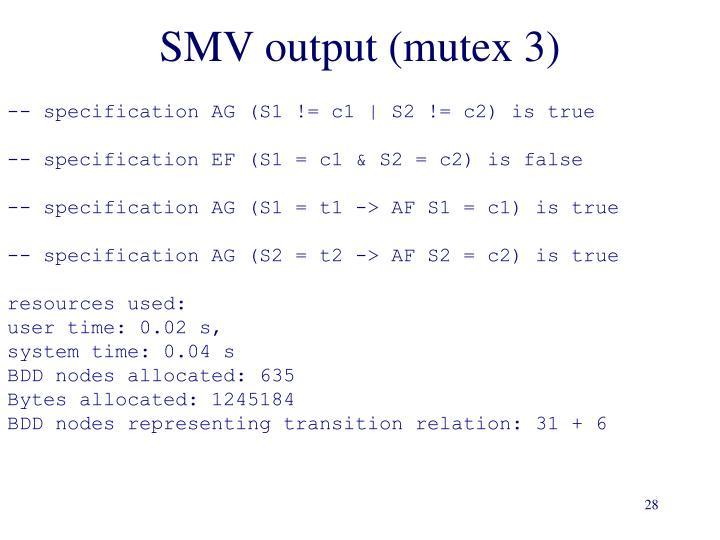 SMV output (mutex 3)