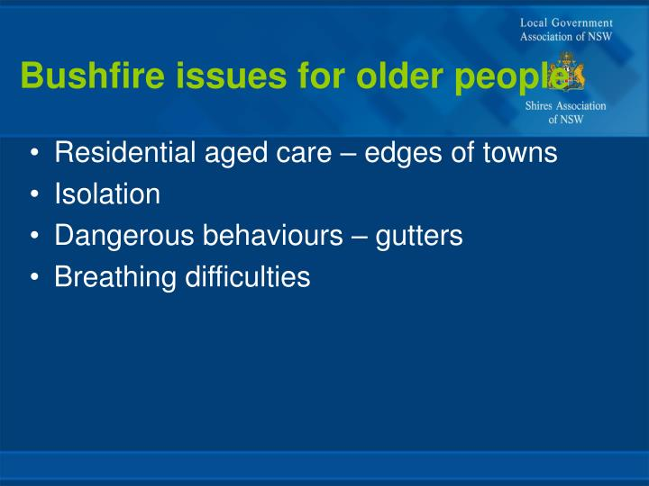 Bushfire issues for older people