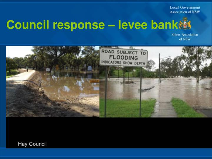 Council response – levee bank