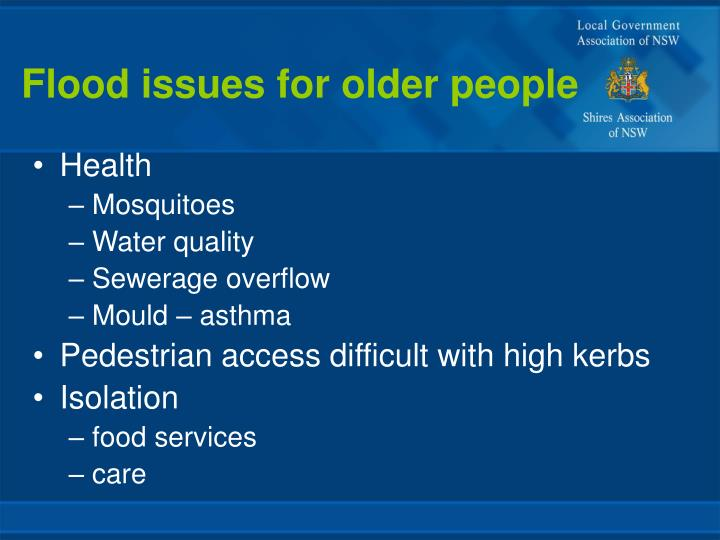 Flood issues for older people