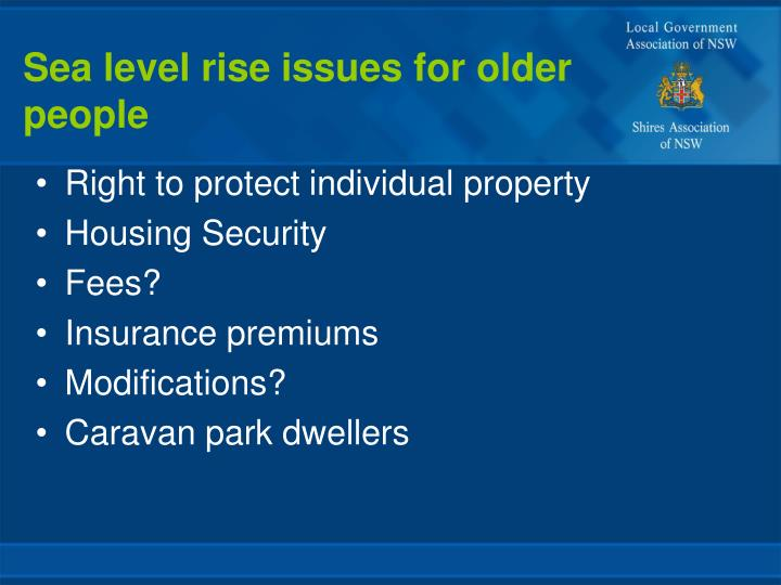 Sea level rise issues for older people