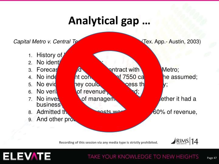 Analytical gap …
