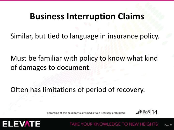 Business Interruption Claims