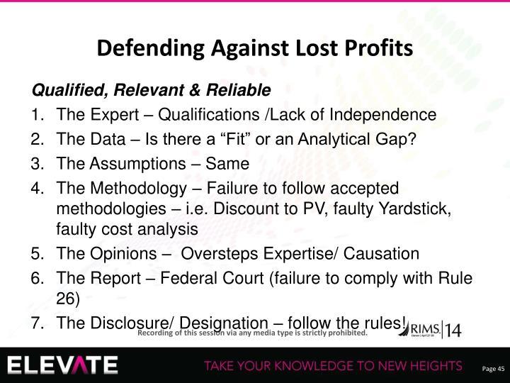 Defending Against Lost Profits