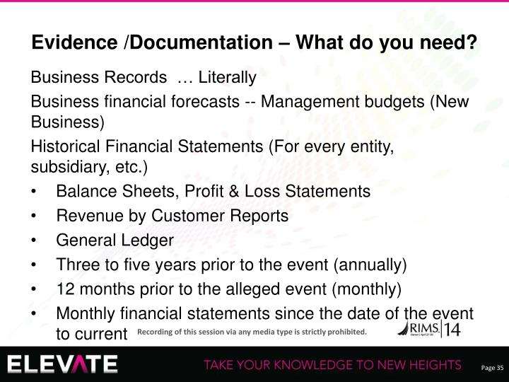 Evidence /Documentation – What do you need?