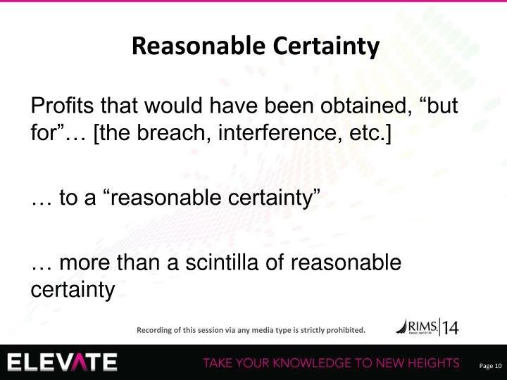 Reasonable Certainty