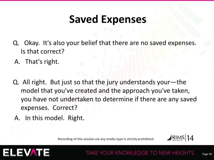 Saved Expenses
