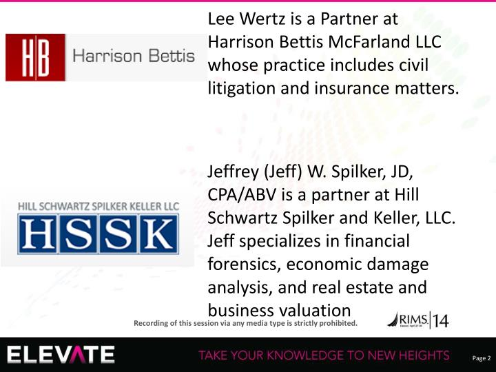 Lee Wertz is a Partner at  Harrison Bettis McFarland LLC whose practice includes civil litigation and insurance matters.