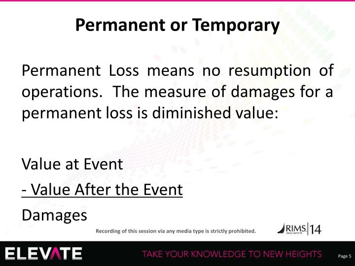 Permanent or Temporary
