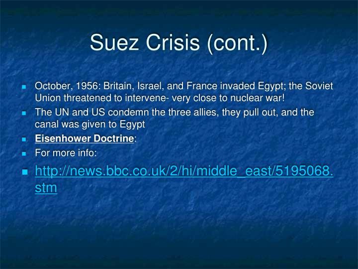 Suez Crisis (cont.)