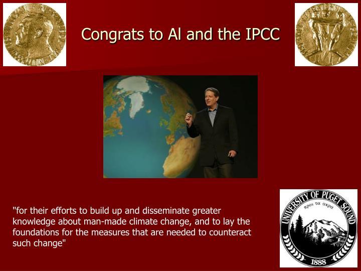 Congrats to Al and the IPCC
