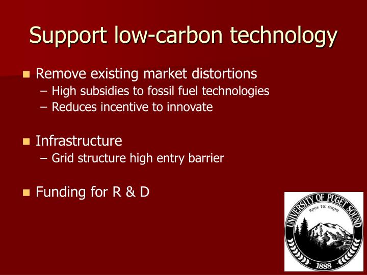 Support low-carbon technology