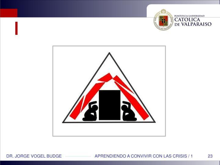 DR. JORGE VOGEL BUDGE                            APRENDIENDO A CONVIVIR CON LAS CRISIS / 1