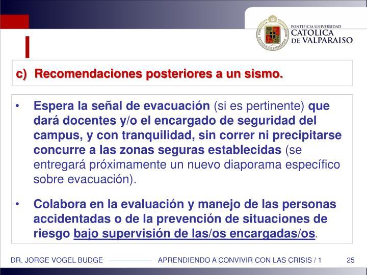 Recomendaciones posteriores a un sismo.