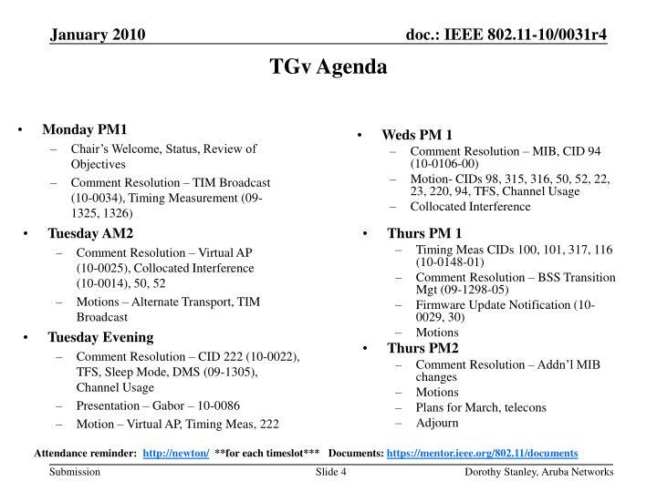 TGv Agenda