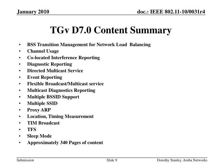 TGv D7.0 Content Summary