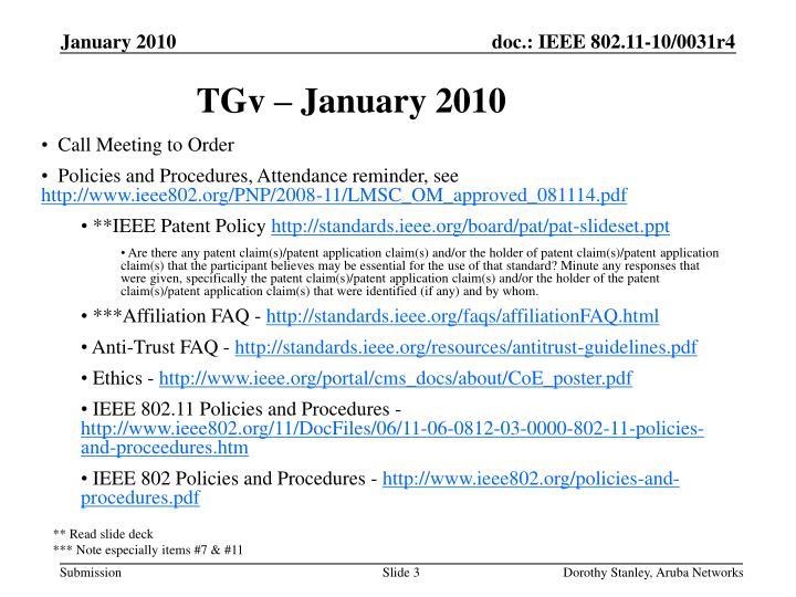 TGv – January 2010
