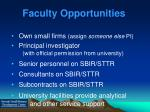 faculty opportunities