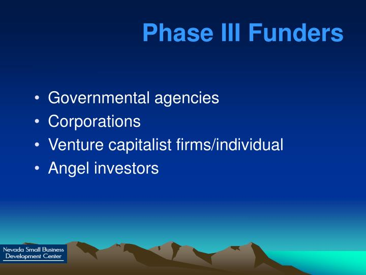 Phase III Funders
