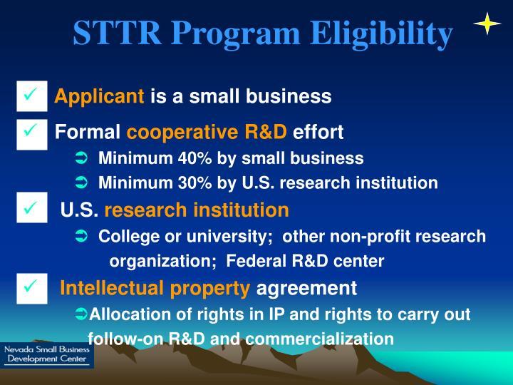 STTR Program Eligibility