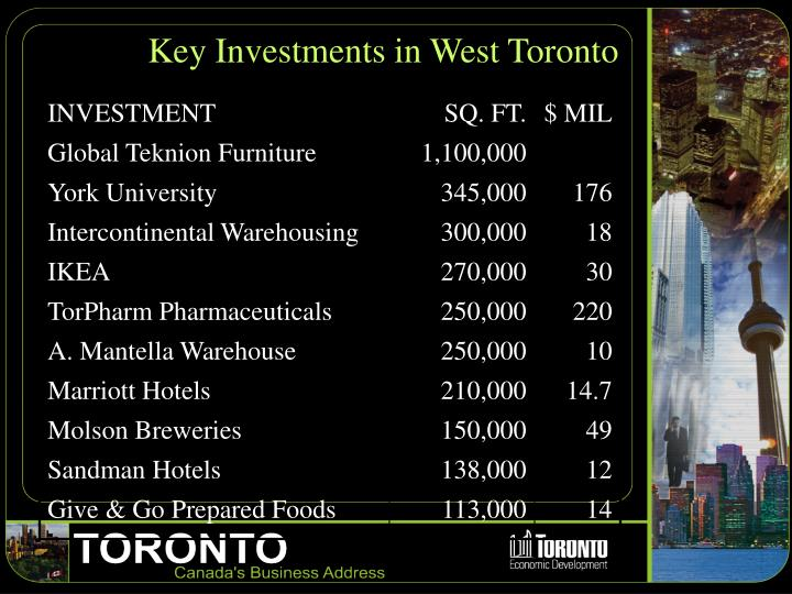 Key Investments in West Toronto