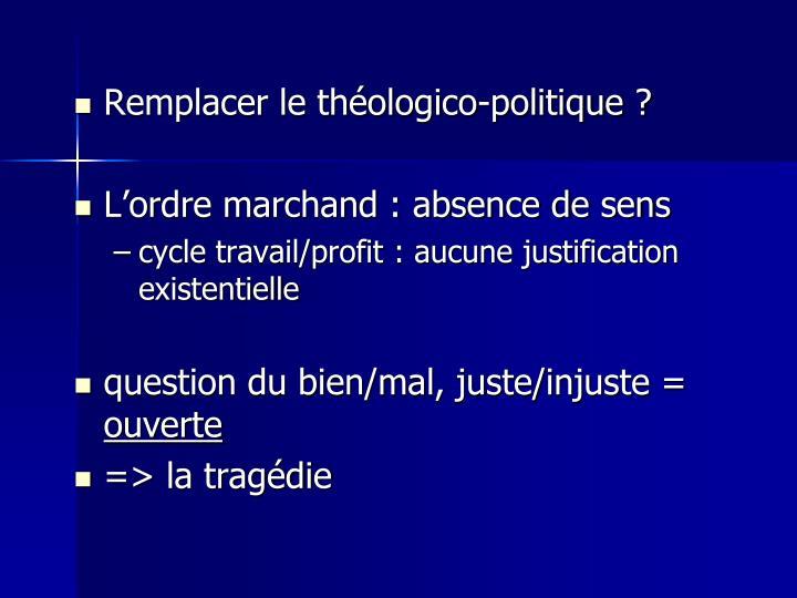 Remplacer le théologico-politique ?