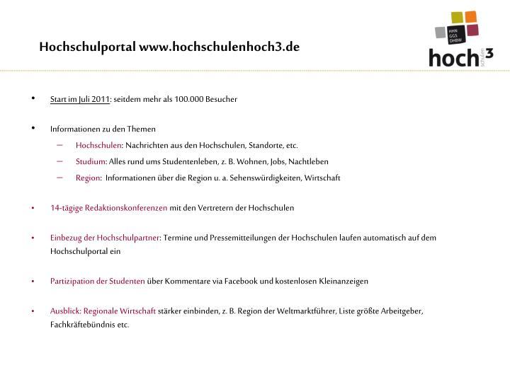 Hochschulportal www.hochschulenhoch3.de