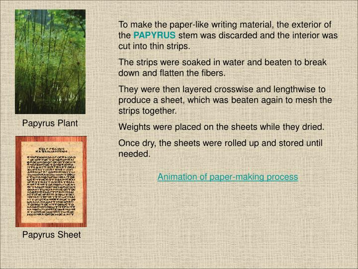 To make the paper-like writing material, the exterior of the