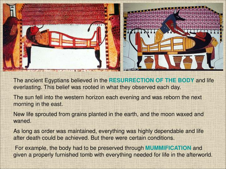 The ancient Egyptians believed in the