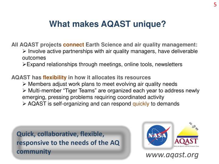 What makes AQAST unique?