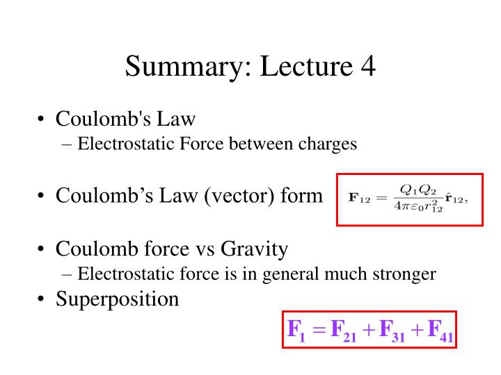 Summary: Lecture 4
