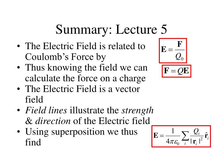 Summary: Lecture 5