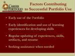 factors contributing to successful portfolio use