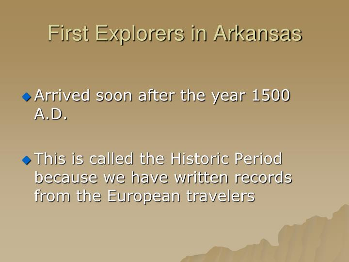 First Explorers in Arkansas