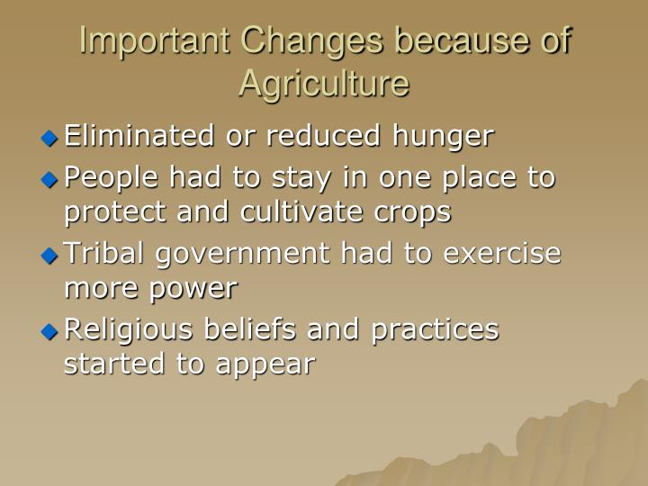 Important Changes because of Agriculture