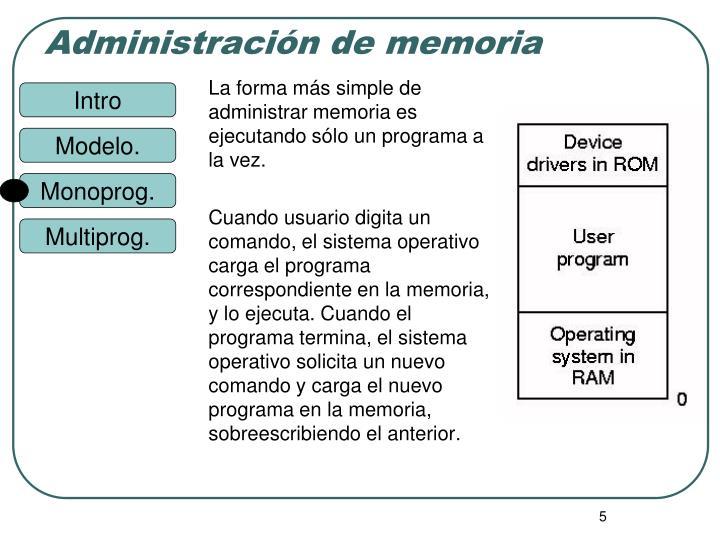 La forma más simple de administrar memoria es ejecutando sólo un programa a la vez.