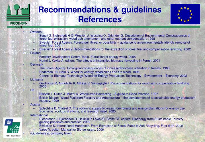 Recommendations & guidelines